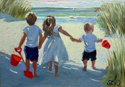 Off To The Beach We Go by Sherree Valentine Daines - Original Painting on Board sized 14x10 inches. Available from Whitewall Galleries